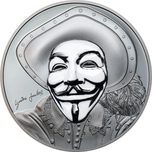 HISTORIC GUY FAWKES MASK II Anonymous V for Vendetta 1 Oz Black Proof Silver Coin 5$ Cook Islands 2017