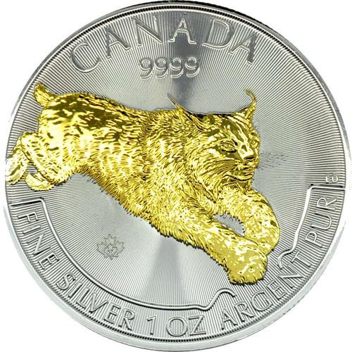LYNX Predator Series 1 oz silver Gilded coin $5 2017 Canada