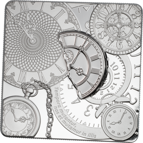 TIME CAPSULE Square Shaped Silver Coin 5$ Cook Islands 2017
