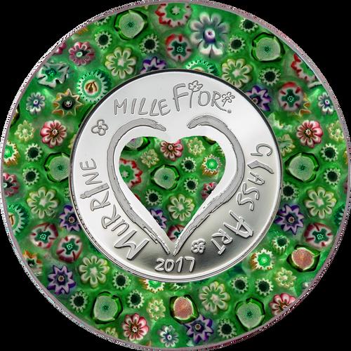 MURRINE MILLEFIORI GLASS ART Venetian Murano Silver Coin 5$ Cook Islands 2017