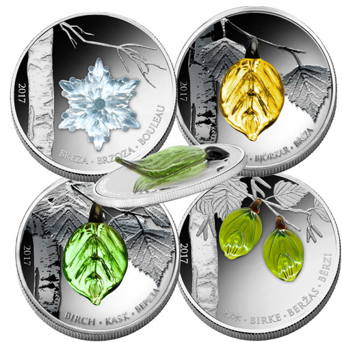 BIRCH LEAF Handcrafted Bohemian Glass - Four Seasons Silver Coins 1000 Fr 2017