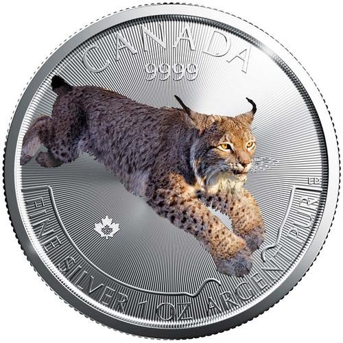 LYNX Predator Series 1 oz silver color coin $5 2017 Canada