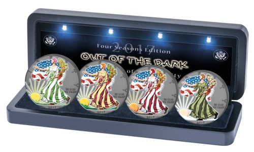 WALKING LIBERTY Out of Dark - 4 Seasons Silver Coins set $1 USA 2017