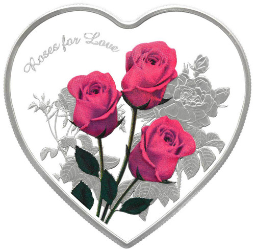 ROSES For LOVE Heart-Shaped Silver Coin 2017 Tokelau