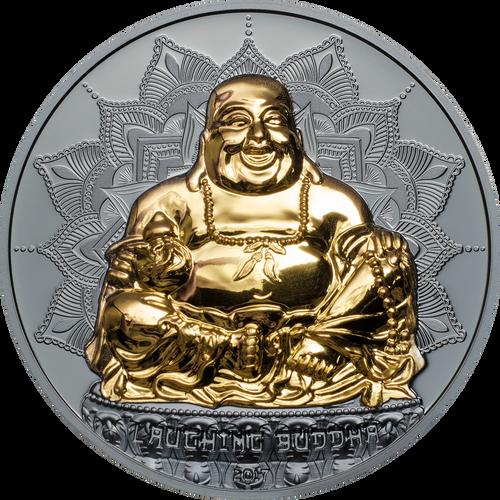 LAUGHING BUDDHA Gold plated 2 Oz Silver Coin 10$ Palau 2017