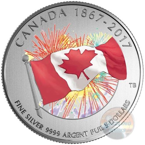 CANADA DAY FIREWORKS - Glow in the Dark $5 Fine Silver Coin 2017