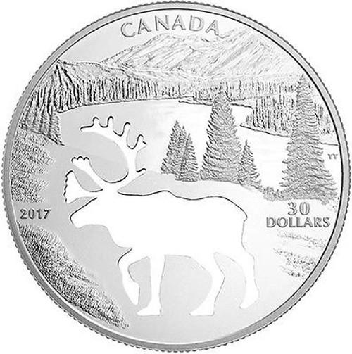 WOODLAND CARIBOU Cutout 1.7 oz $30 Silver Proof coin Canada 2017
