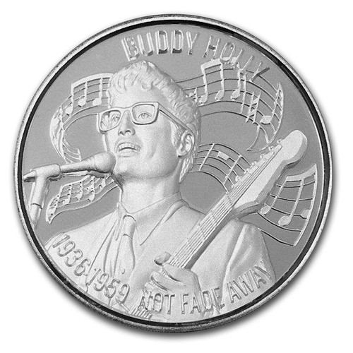 BUDY HOLLY American Music Icons Series Ultra High Relief 2 oz .999 Silver Round