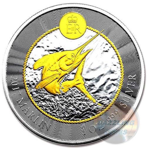 BLUE MARLIN 1 oz 24K Gold Gilded Fine Silver Coin Cayman Islands 2017