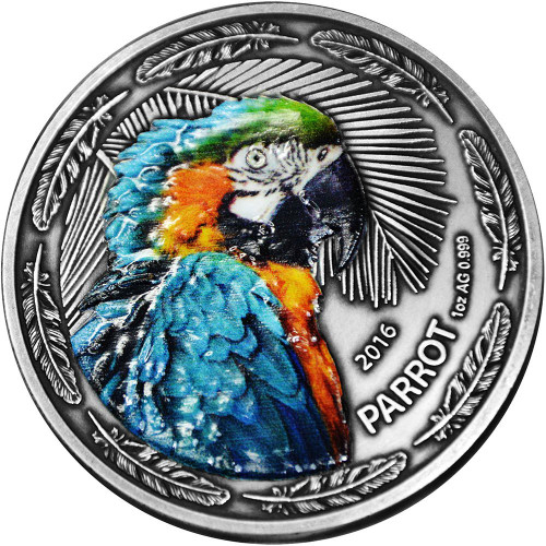 PARROT Bird 1 Oz Silver Coin 1000 Francs Burkina Faso 2016