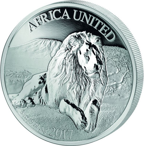 AFRICA UNITED Lion 3 Oz Silver Coin 1500 Fr Ivory Benin Congo Mali Niger 2017