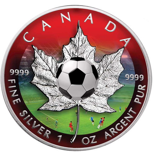 MAPLE LEAF - Football  Edition  $5  Pure Silver Coin  Canada 2016