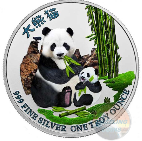 PANDA with Cub 1 oz Pure Silver Color Coin Niue 2017