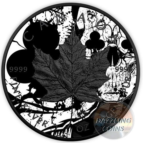 MAPLE Leaf Diamond Skull CLUBS 1 oz Silver Ruthenium & Color Coin 2017