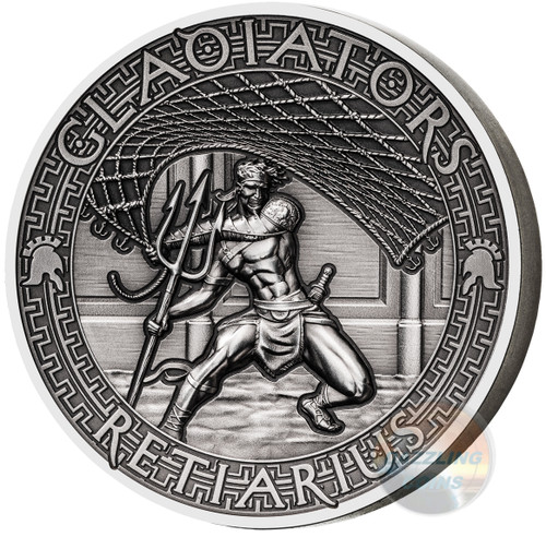RETIARIUS Gladiators 2 Oz High Relief Silver Coin