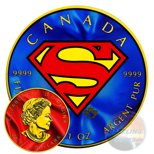 Silver Superman S-Shield 1 oz Colorized 2016 Canada