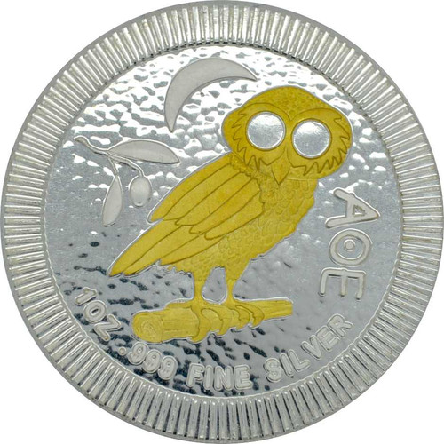 OWL of ATHENS 24K Gold Gilded Silver coin 1 OZ Niue