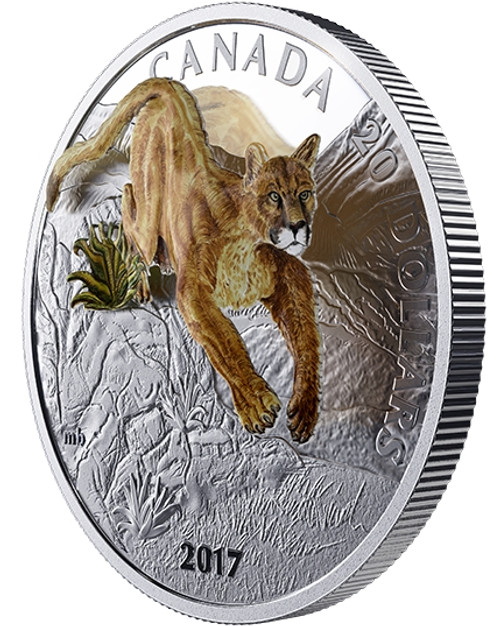 Three-Dimensional Leaping Cougar 1 oz. Pure Silver Proof 2017 Canada
