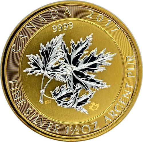 Multi MAPLE LEAF Superleaf - 1.5 Oz silver reverse Gild coin $8 Canada 2017