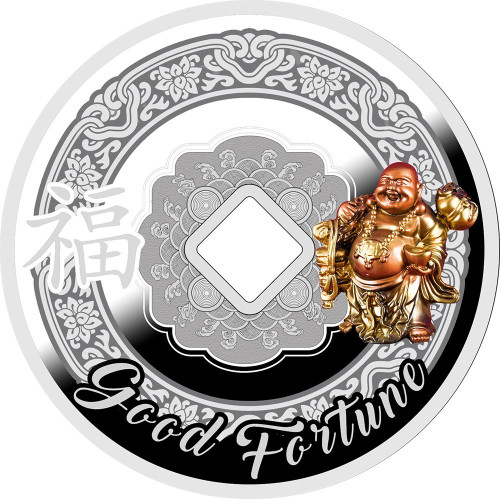 LAUGHING BUDDHA Symbols of Feng Shui Silver Coin 500 Franks Cameroon 2017
