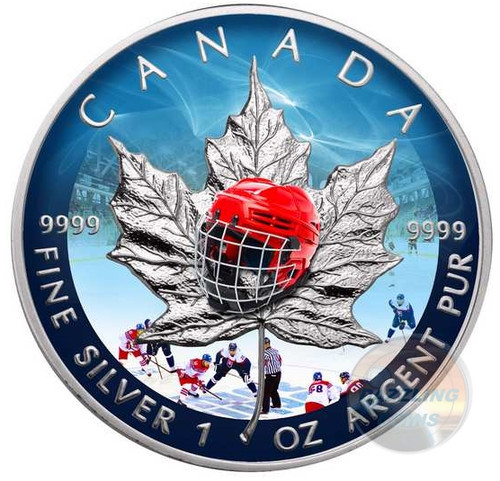HOCKEY Maple Leaf 1 oz Pure Silver Coin Canada 2017