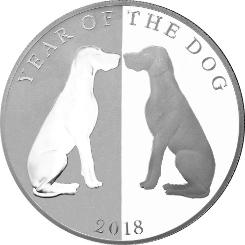 MIRROR DOGS Year Of The Dog 1 oz Pure Silver Coin $5 Tokelau 2018