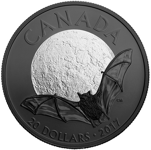 THE LITTLE BROWN BAT - NOCTURNAL BY NATURE- $20 1 oz Fine Silver Coin - 2017 Canada