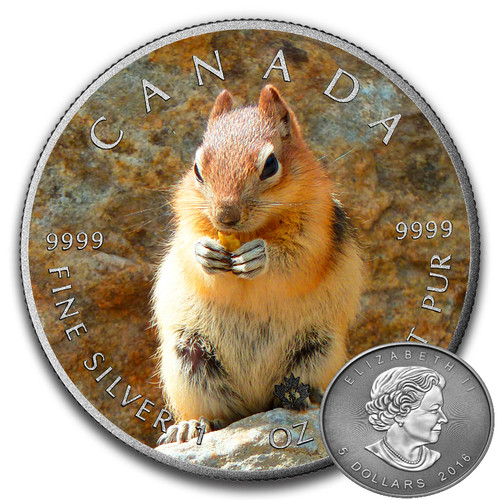 SQUIRREL - CANADIAN WILDLIFE SERIES - 2016 1 oz Pure Silver Coin - Color & Antique Finish