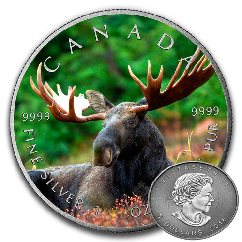 MOOSE - CANADIAN WILDLIFE SERIES - 2016 1 oz Pure Silver Coin - Color & Antique Finish