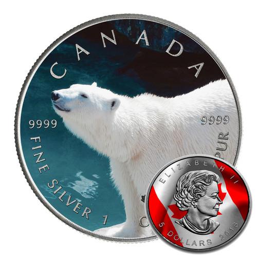 POLAR BEAR - CANADIAN WILDLIFE SERIES - 2016 1 oz Pure Silver Coin - Color & Antique Finish