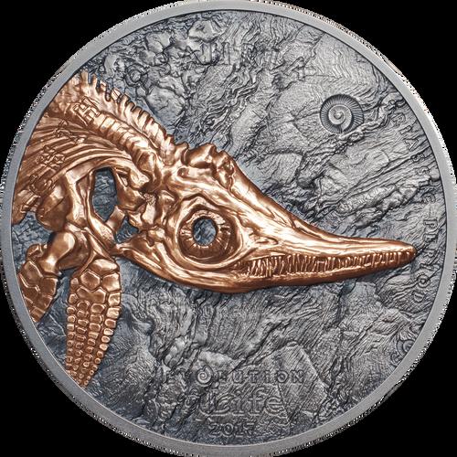 ICHTHYOSAUR Triassic Period 1 Oz Silver Coin 500 Togrog Mongolia 2017