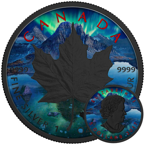 MAPLE LEAF AURORA - Silver Maple Leaf 1 oz Silver Coin - Black Ruthenium & Color 2017 Canada
