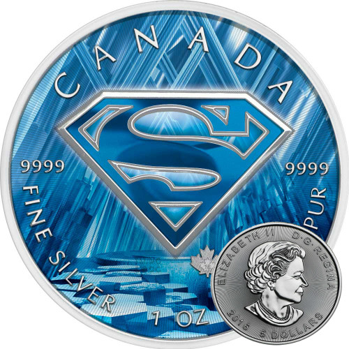 SUPERMAN FORTRESS OF SOLITUDE - 2016 Canadian 1 oz Pure Silver Coin - Color