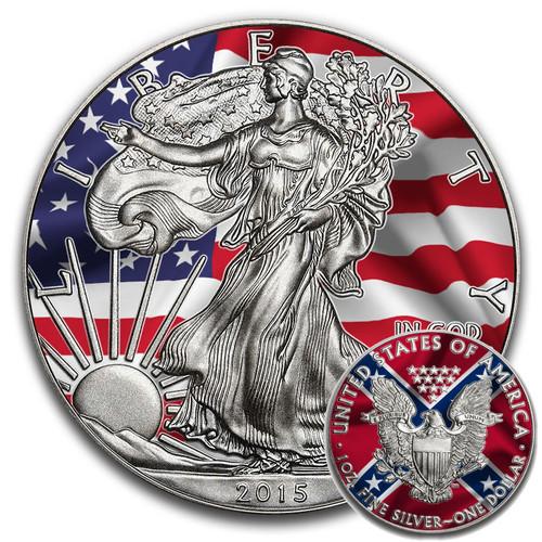 UNION VS CONFEDERACY - 2015 1 oz American Silver Eagle Coin - Antique & Color