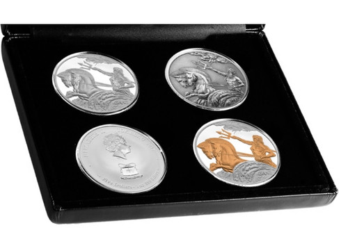 POSEIDON 4x 1oz Silver Coin Set Tokelau 2017
