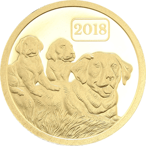 YEAR OF THE DOG DOG FAMILY 0.5g Pure Gold Coin Tokelau 2018