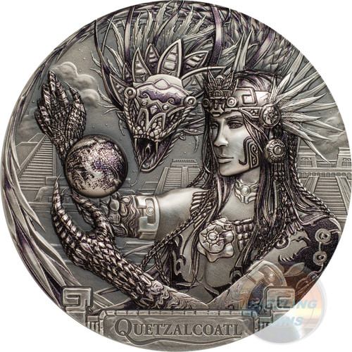 QUETZALCOATL Feathered Serpent Gods Of The World 3 Oz Silver Coin 20$ Cook Islands 2017