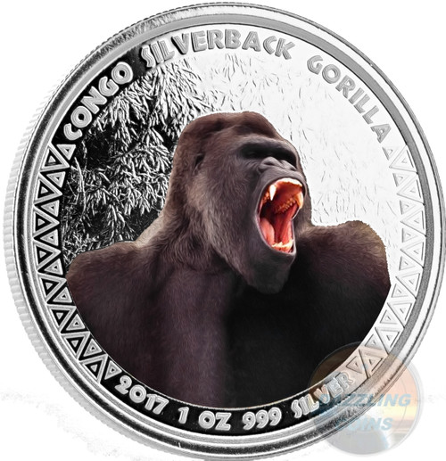 SILVERBACK GORILLA 1 oz Proof Silver color Coin 5000 Francs Congo 2017