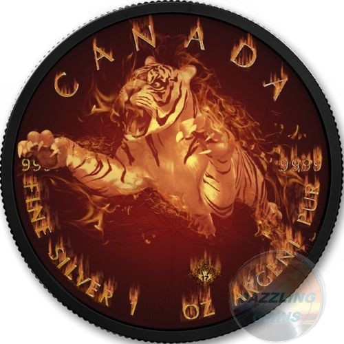 TIGER Burning Wildlife 1 Oz Silver Coin 5$ Canada 2017