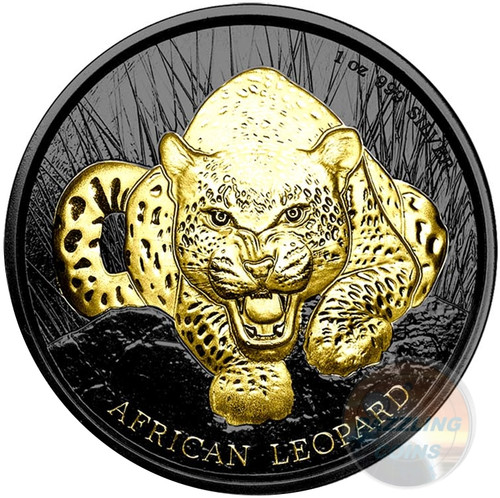 AFRICAN LEOPARD - Gold Black Empire 1 oz Silver Coin - 2017 Ghana