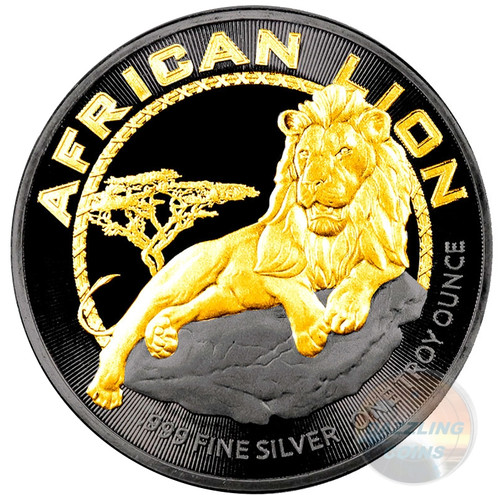 AFRICAN LION - Gold Black Empire 1 oz Silver Coin - 2017 Niue