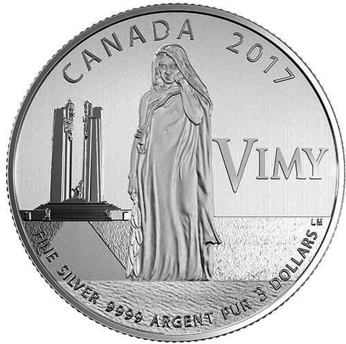 THE BATTLE OF VIMY RIDGE - 100TH ANNIVERSARY - 2017 $3 1/4 oz Fine Silver Coin