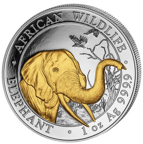2018 ELEPHANT-African Wildlife 1 oz Gilded Silver Coin - 100 Shillings Somalia