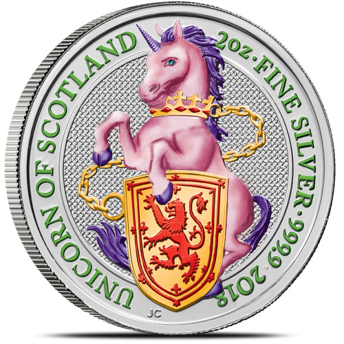 UNICORN OF SCOTLAND - THE QUEEN'S BEASTS 2 oz Silver color Coin 2018 UK