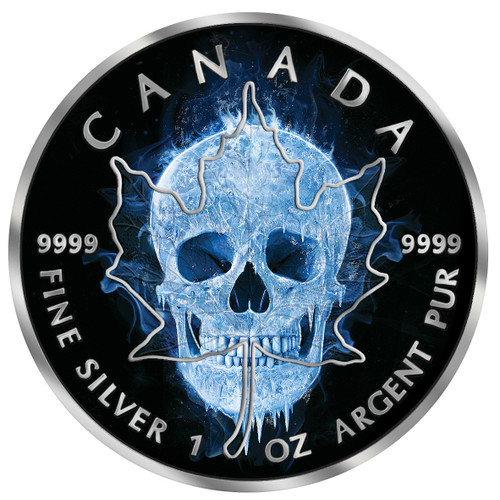 ICE SKULL Maple Leaf 1 Oz Silver Coin 5$ Canada 2017