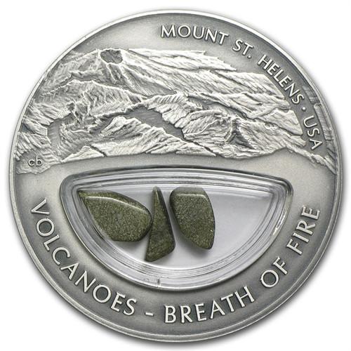Volcanoes Mt St Helens BREATH OF FIRE Silver $10 Fiji 2013