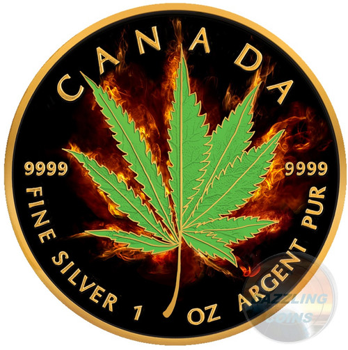 BURNING MARIJUANA - HYBRID Maple Leaf 1 oz Silver Coin 2017