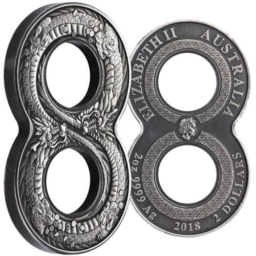 FIGURE EIGHT DRAGON 2 Oz Silver Coin 2$ Australia 2018