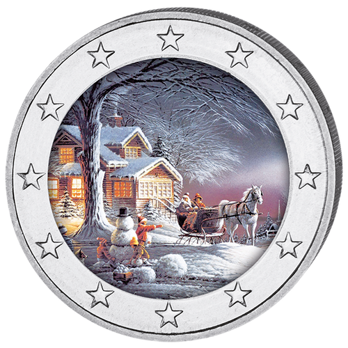 2017 Christmas Colored Coin 2 EURO with OGP