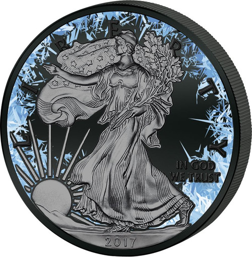 Deep Frozen LIBERTY 1 oz Silver Ruthenium & Platinum PL Coin 2017